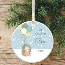 Baby Girl's 1st Christmas Ceramic Christmas Tree Decoration  - Hedgehog and Balloons Design